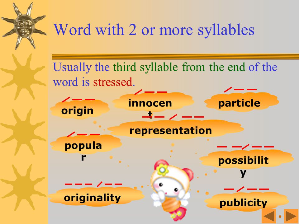 Word with 2 or more syllables