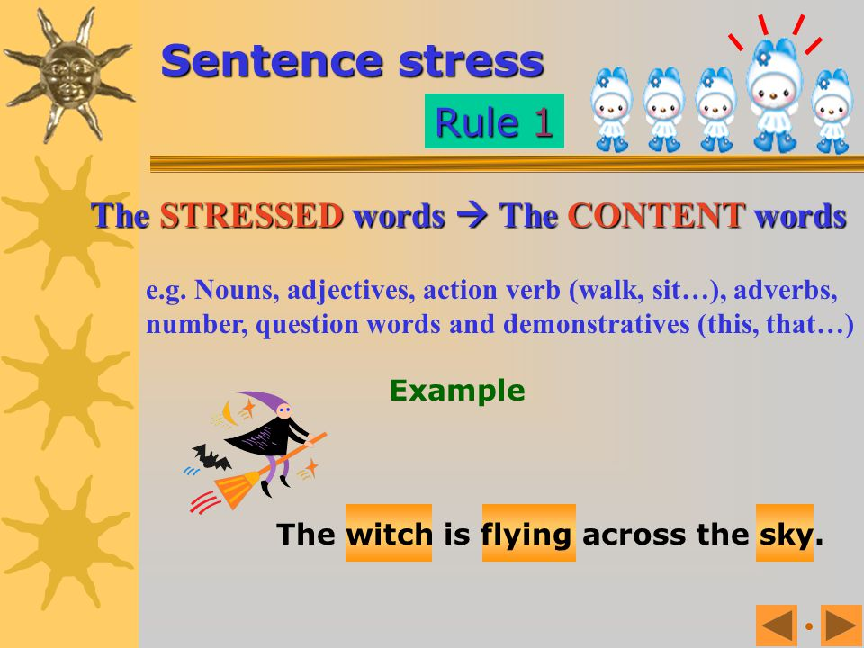 Sentence stress Rule 1 The STRESSED words  The CONTENT words