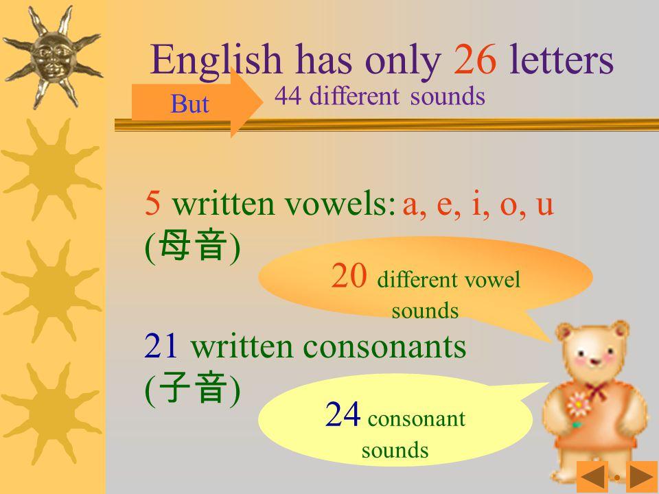 20 different vowel sounds