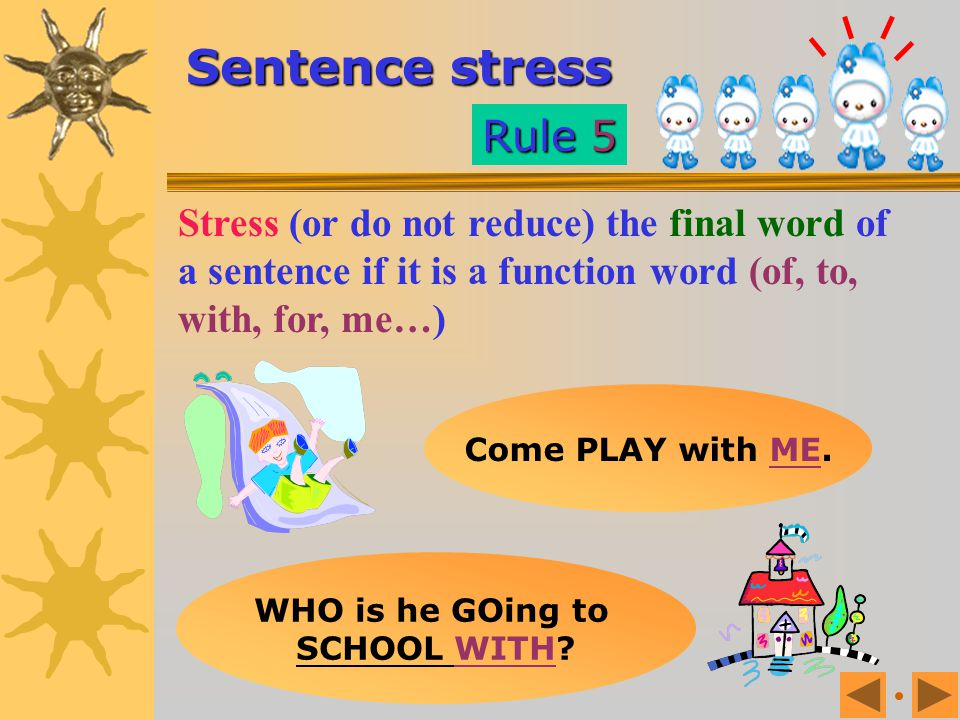 Sentence stress Rule 5. Stress (or do not reduce) the final word of a sentence if it is a function word (of, to, with, for, me…)