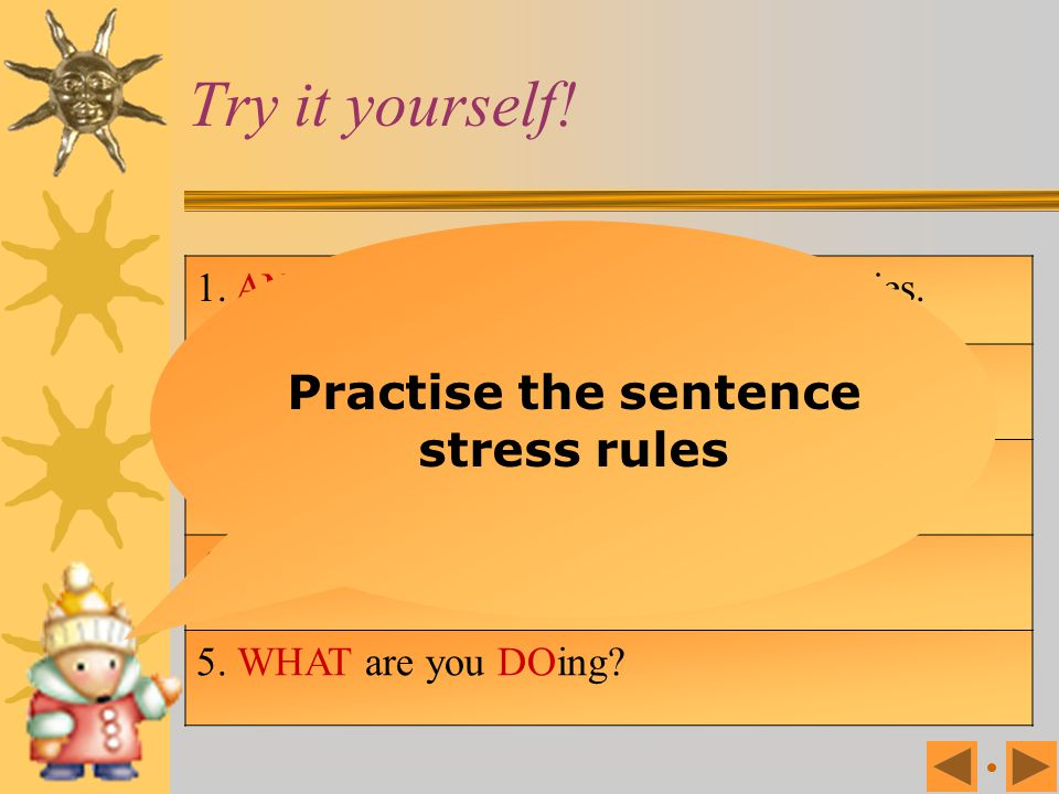 Practise the sentence stress rules