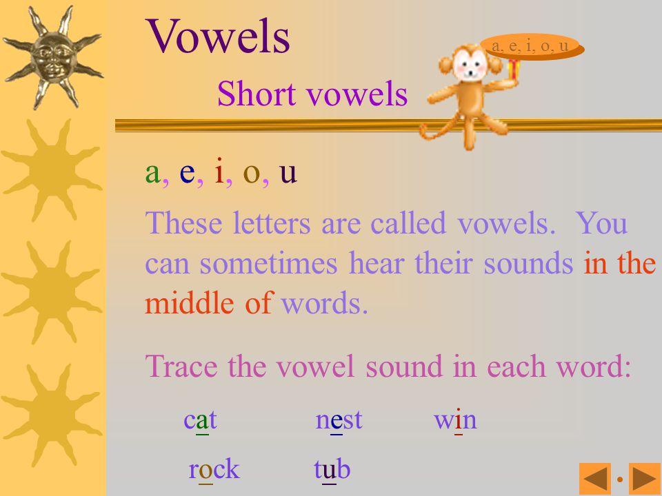 Vowels Short vowels a, e, i, o, u