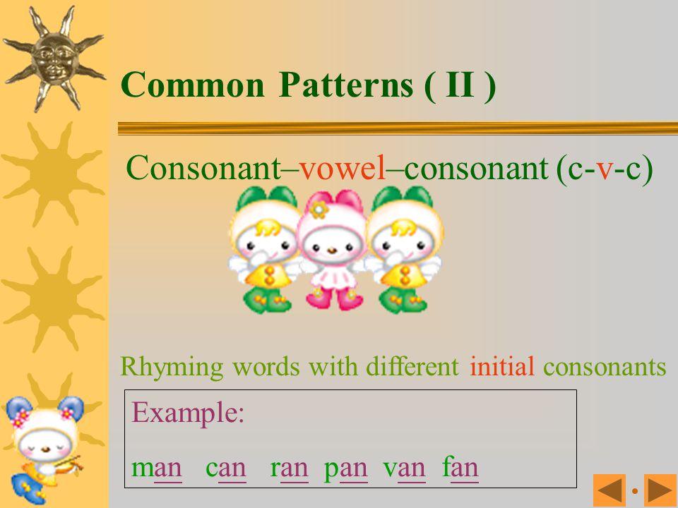 Common Patterns ( II ) Consonant–vowel–consonant (c-v-c) Example: