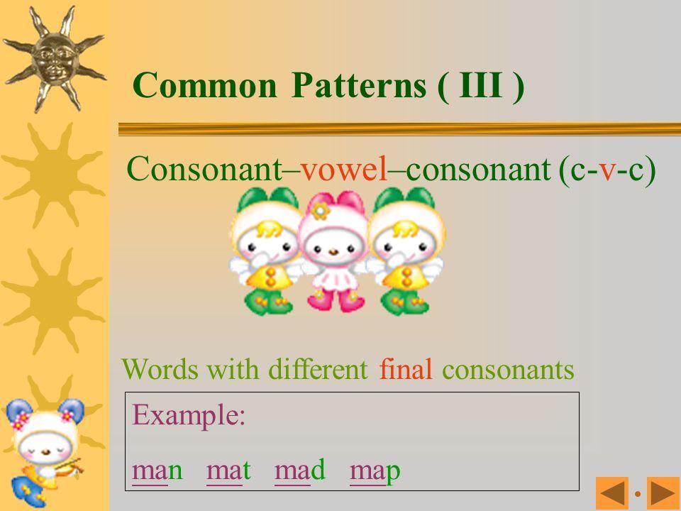Common Patterns ( III ) Consonant–vowel–consonant (c-v-c)