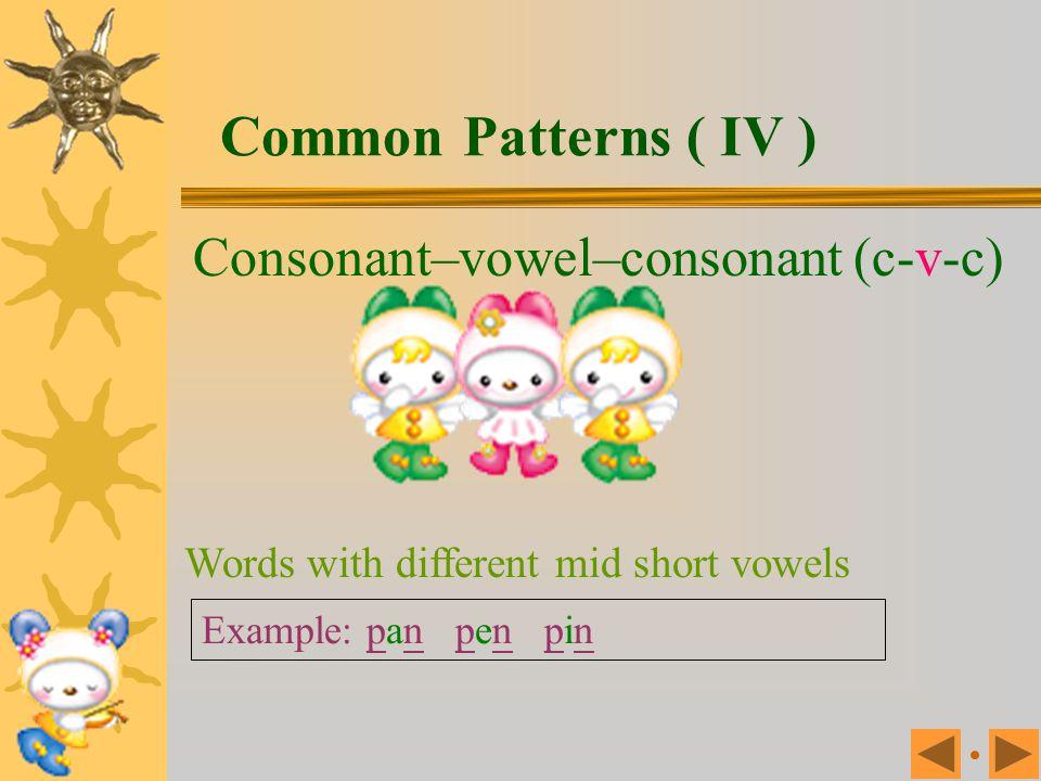 Common Patterns ( IV ) Consonant–vowel–consonant (c-v-c)