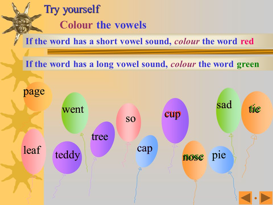 Try yourself Colour the vowels page page sad sad went went tie tie cup