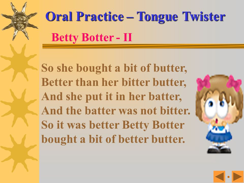 Oral Practice – Tongue Twister