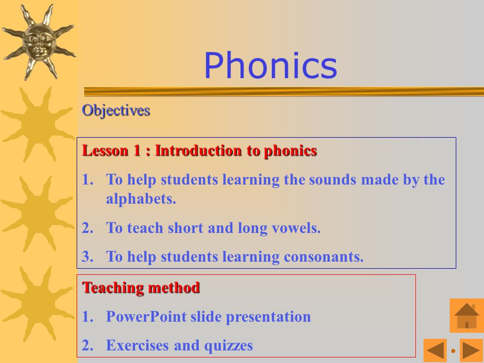 Phonics Objectives Lesson 1 : Introduction to phonics