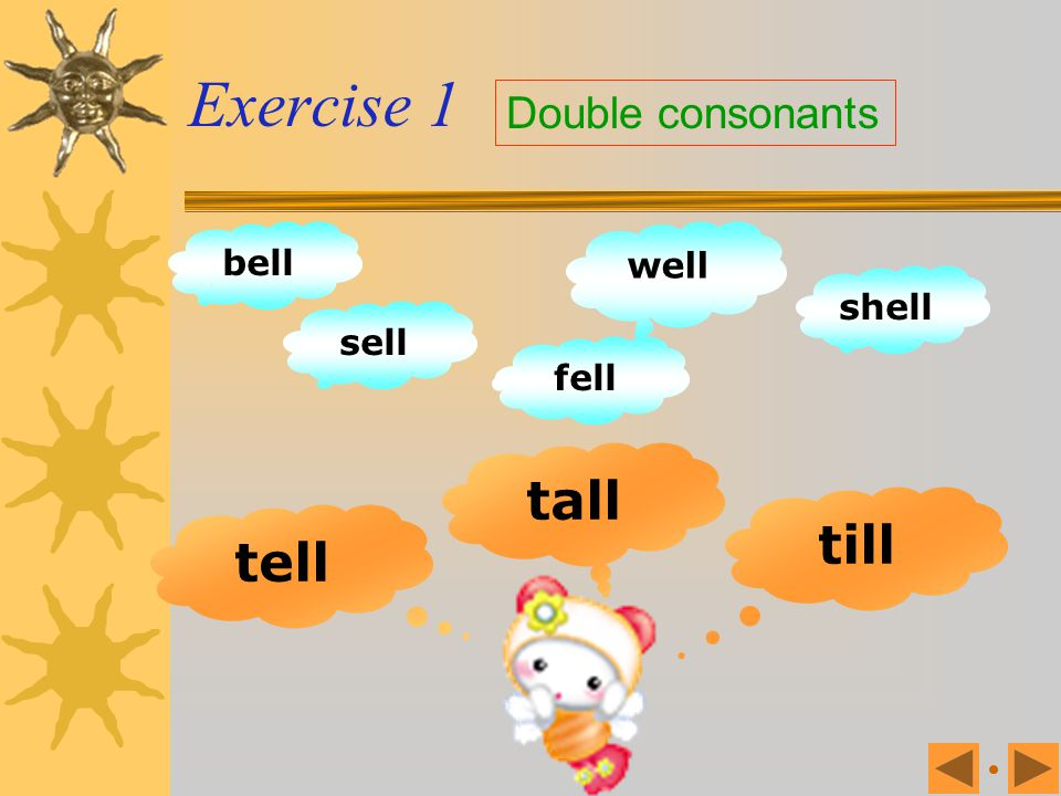 Exercise 1 Double consonants bell well shell sell fell tall till tell