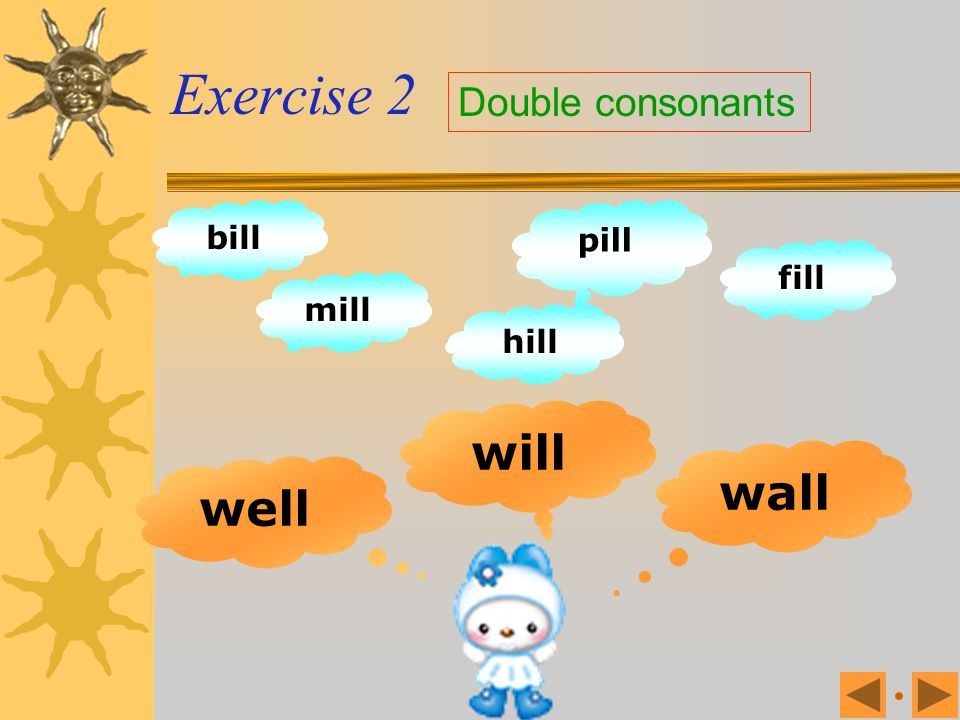 Exercise 2 Double consonants bill pill fill mill hill will wall well