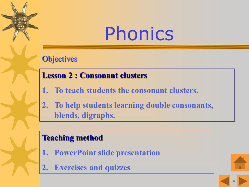 Phonics Objectives Lesson 2 : Consonant clusters