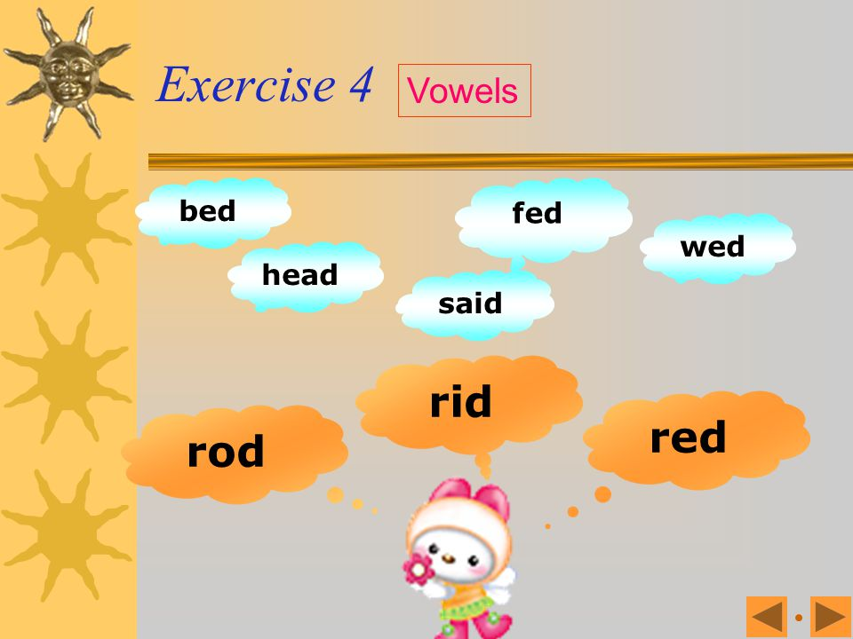 Exercise 4 Vowels bed fed wed head said rid red rod