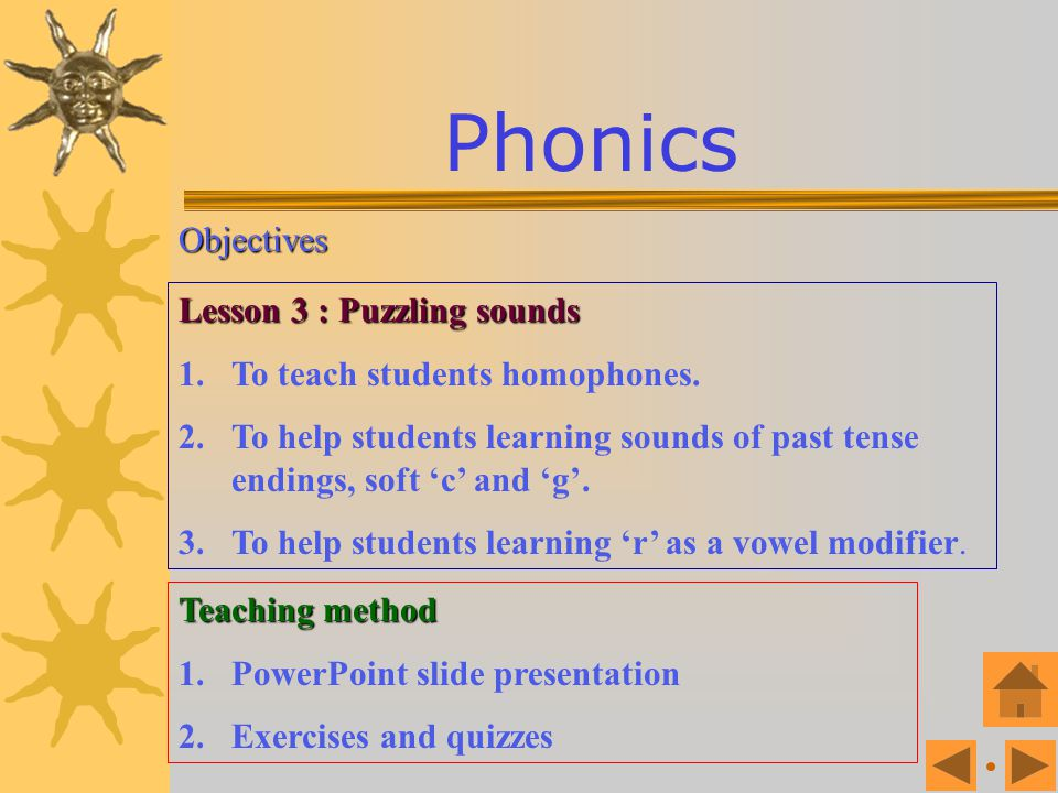 Phonics Objectives Lesson 3 : Puzzling sounds