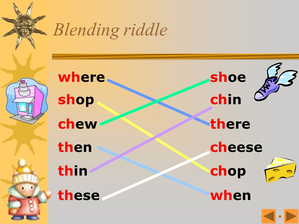 Blending riddle where shoe shop chin chew there then cheese thin chop