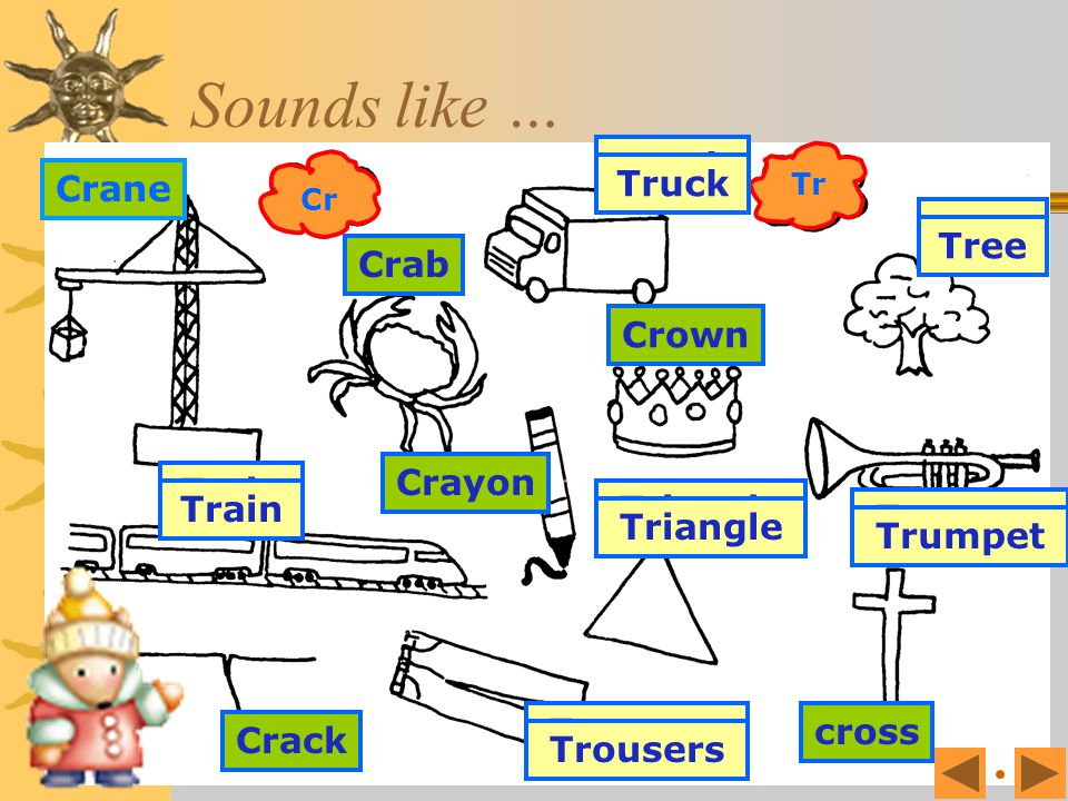 Sounds like … Trumpet Truck Tree Train Trousers Triangle Crane Crab