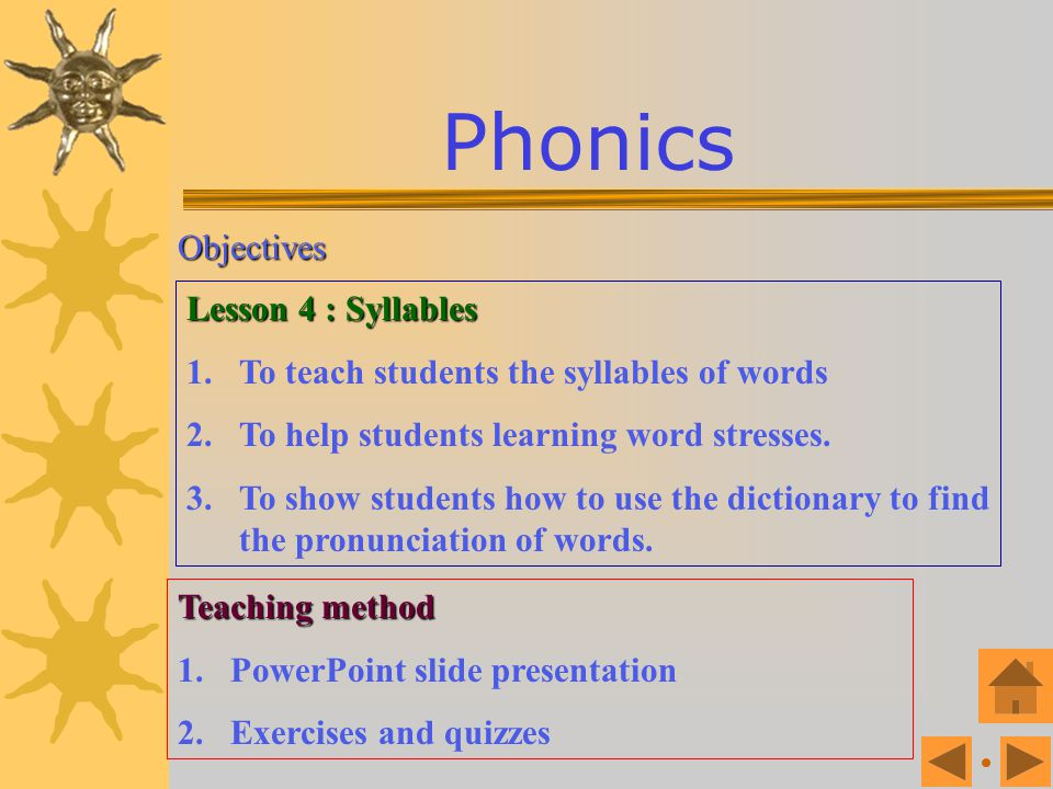 Phonics Objectives Lesson 4 : Syllables