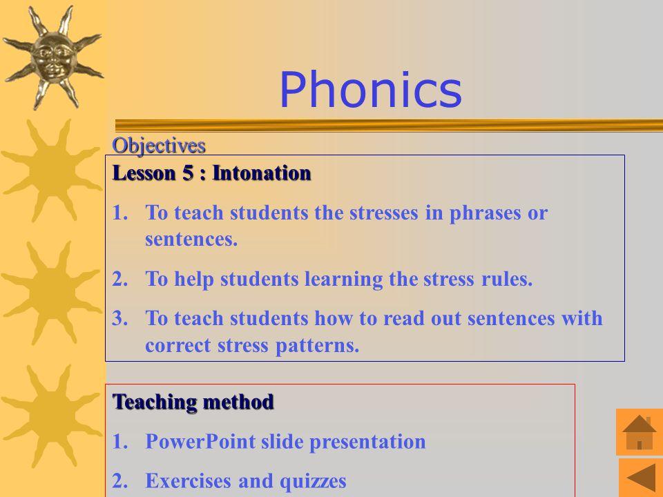 Phonics Objectives Lesson 5 : Intonation
