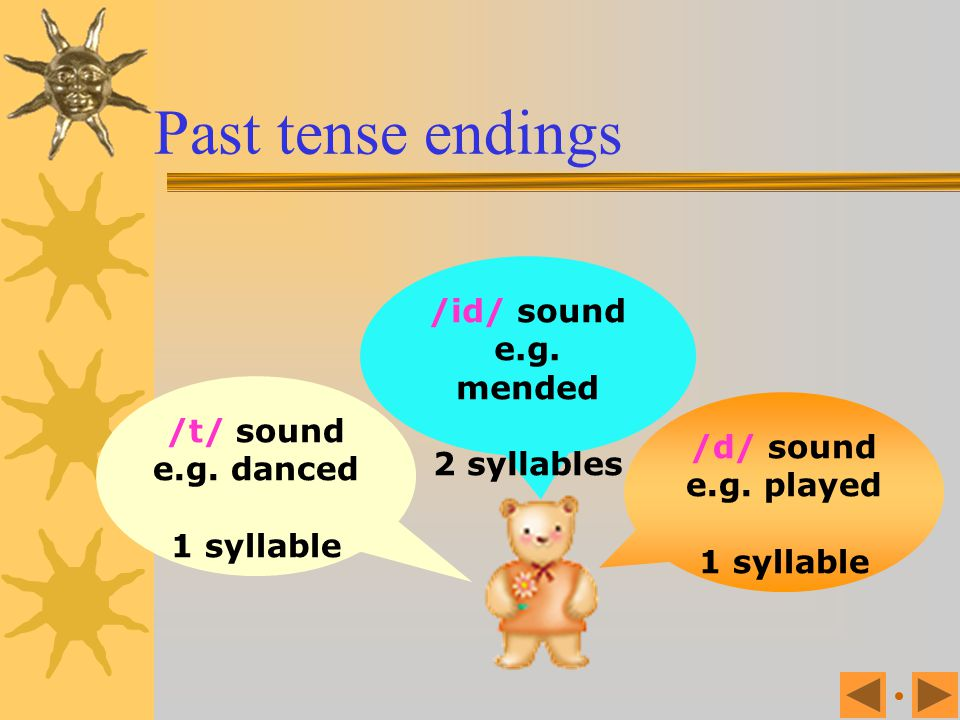 Past tense endings /id/ sound e.g. mended 2 syllables /t/ sound