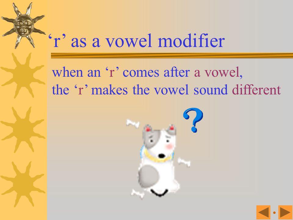 'r' as a vowel modifier when an 'r' comes after a vowel,