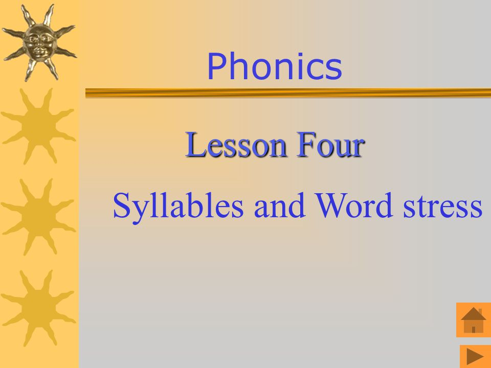 Phonics Lesson Four Syllables and Word stress