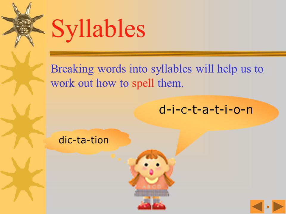Syllables Breaking words into syllables will help us to work out how to spell them. d-i-c-t-a-t-i-o-n.