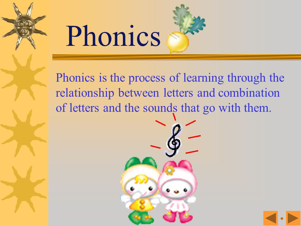 Phonics Phonics is the process of learning through the relationship between letters and combination of letters and the sounds that go with them.