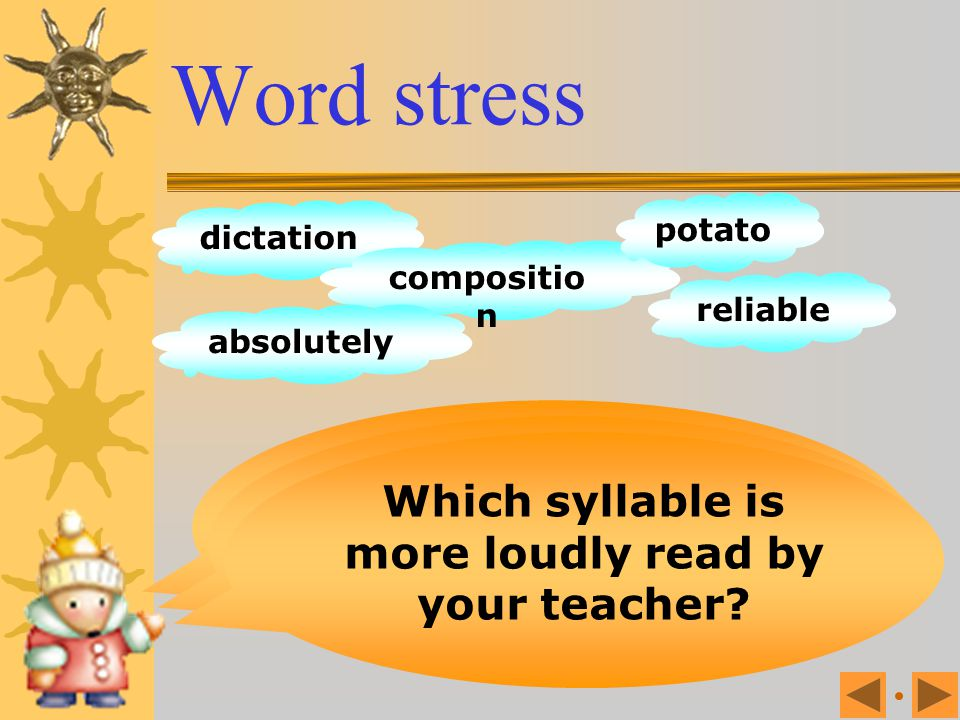 Word stress Listen to your teacher reading these words