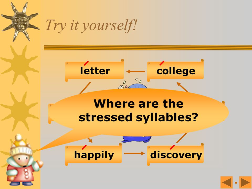 Where are the stressed syllables