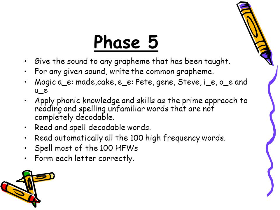 Phase 5 Give the sound to any grapheme that has been taught.