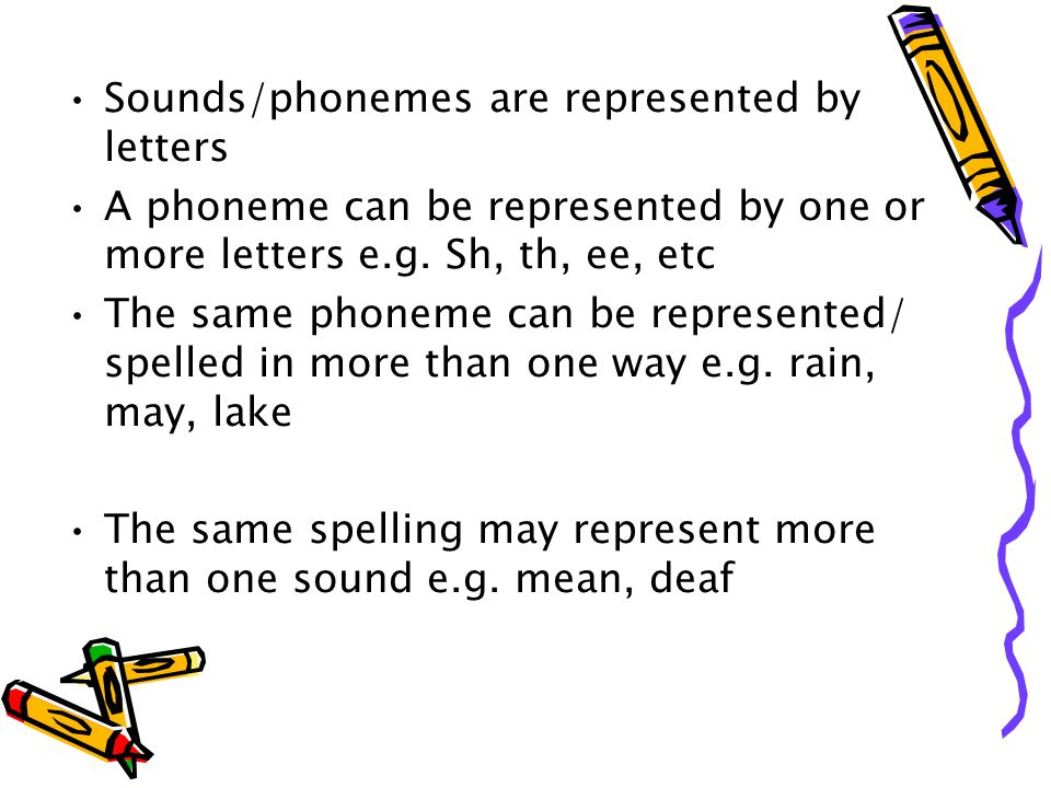 Sounds/phonemes are represented by letters