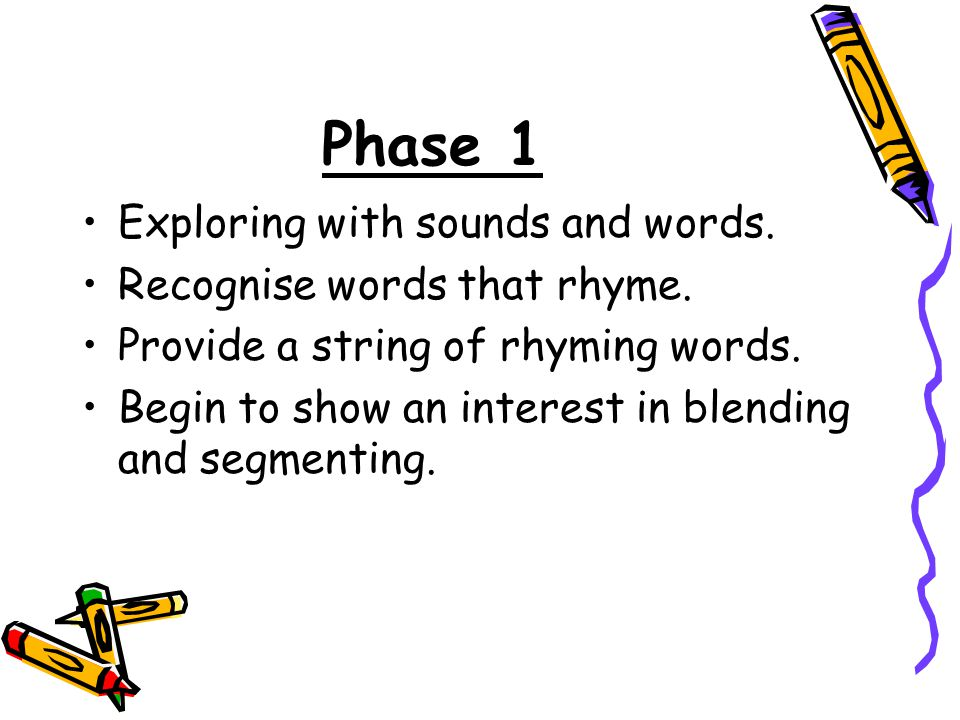 Phase 1 Exploring with sounds and words. Recognise words that rhyme.