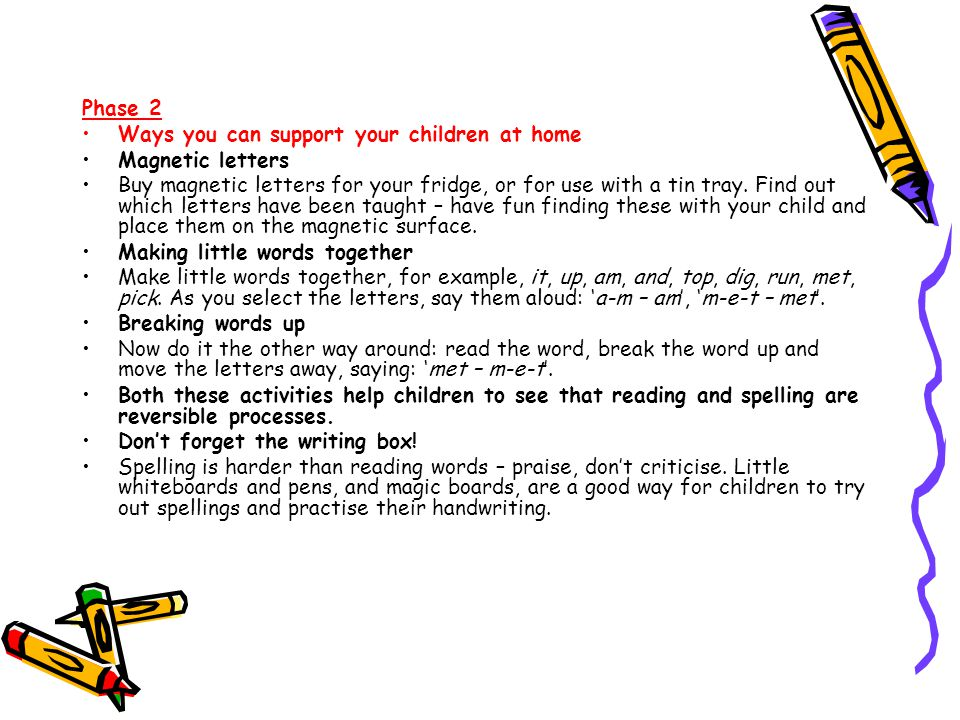 Phase 2 Ways you can support your children at home. Magnetic letters.