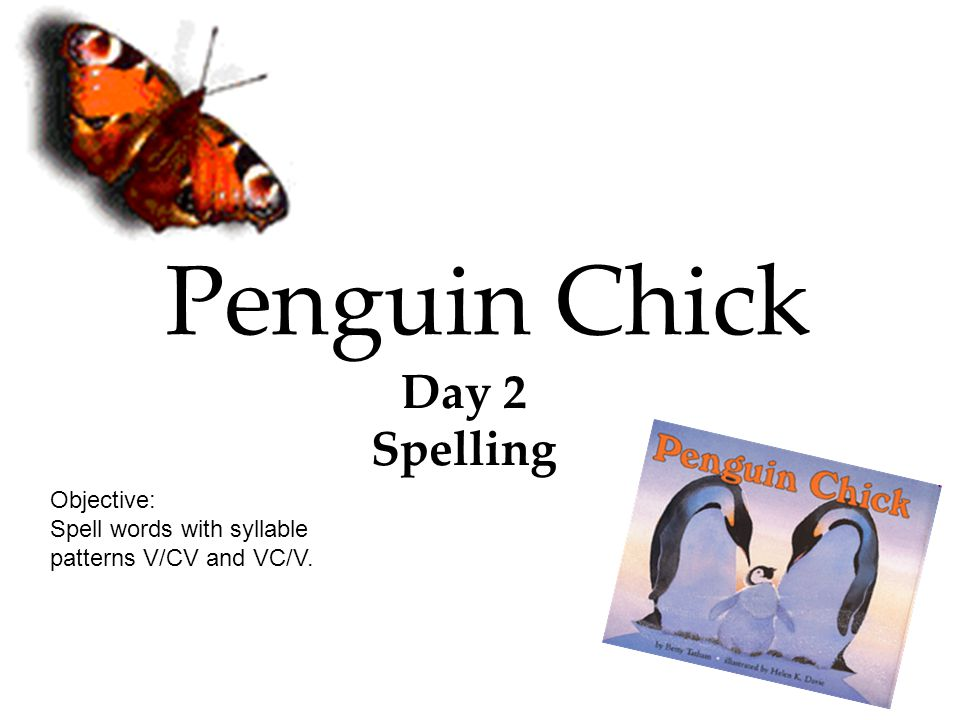 Penguin Chick Day 2 Spelling Objective: