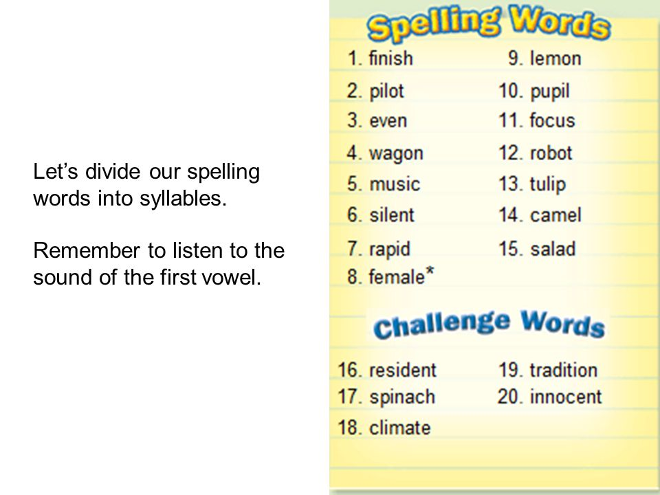 Let's divide our spelling words into syllables.