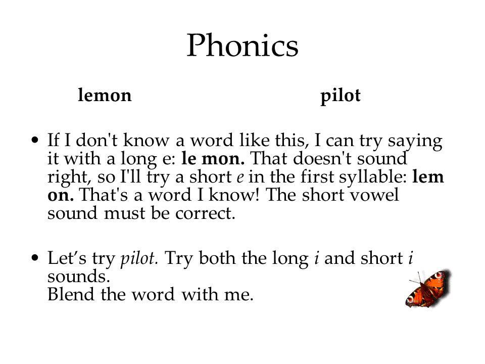 Phonics lemon pilot.