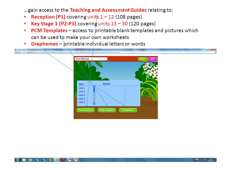 …gain access to the Teaching and Assessment Guides relating to:
