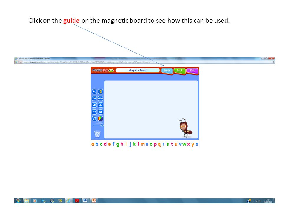 Click on the guide on the magnetic board to see how this can be used.