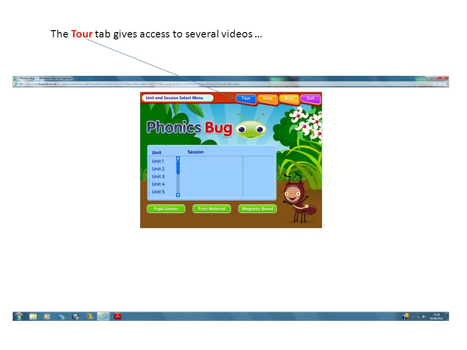 The Tour tab gives access to several videos …