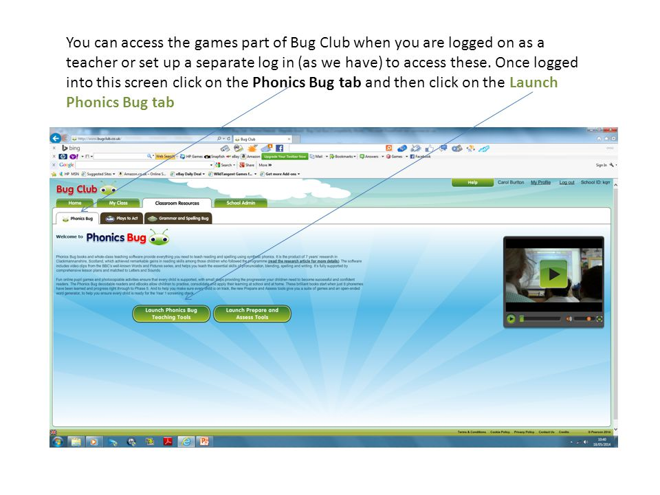 You can access the games part of Bug Club when you are logged on as a teacher or set up a separate log in (as we have) to access these.
