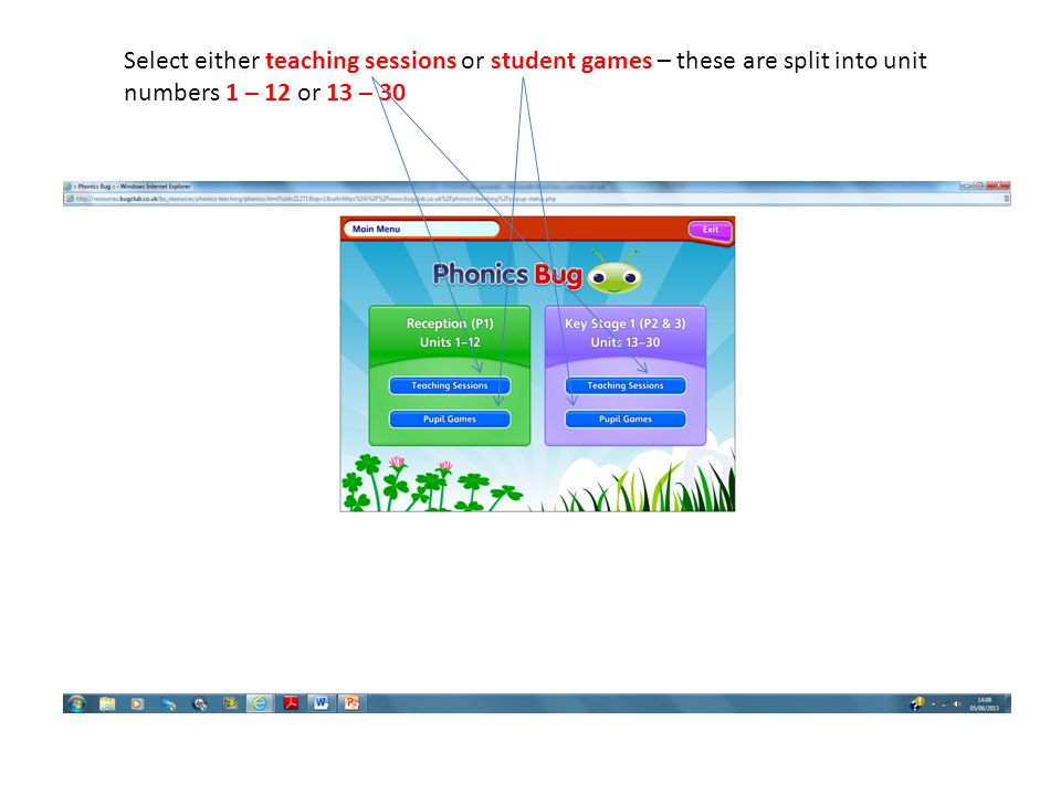 Select either teaching sessions or student games – these are split into unit numbers 1 – 12 or 13 – 30