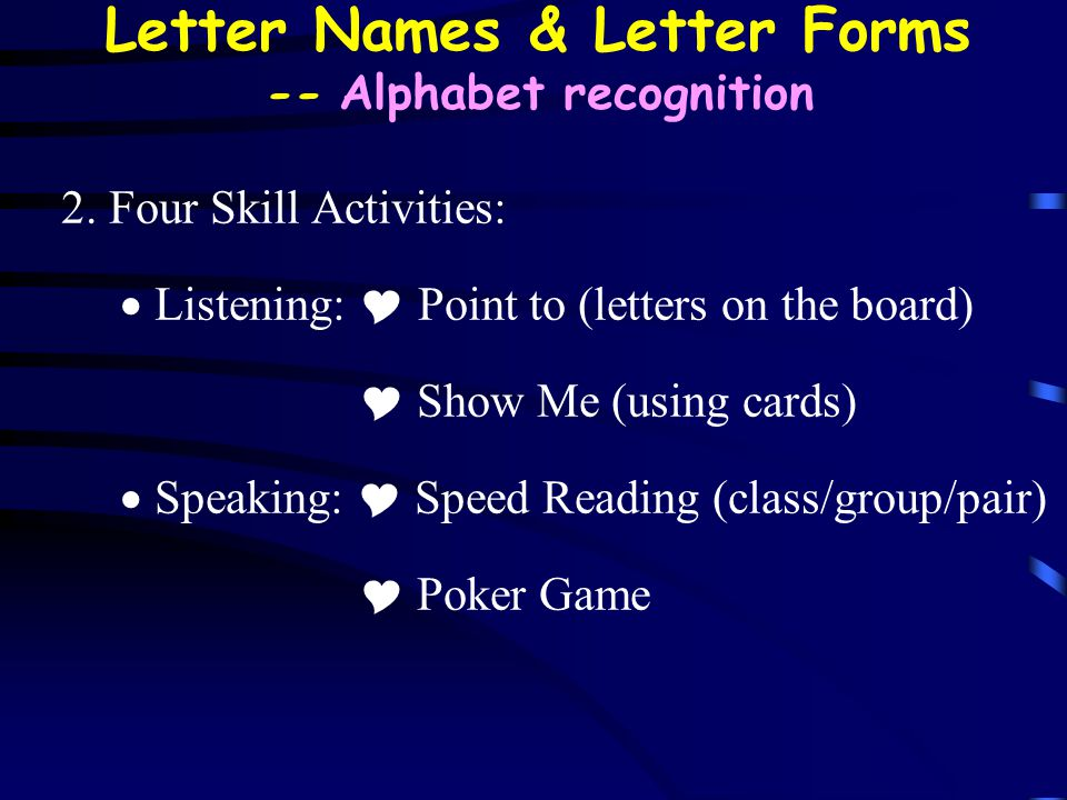 Letter Names & Letter Forms -- Alphabet recognition