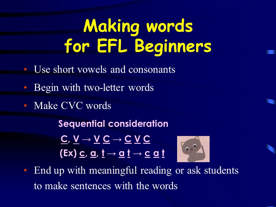 Making words for EFL Beginners