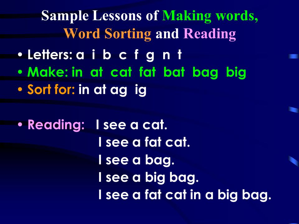 Sample Lessons of Making words, Word Sorting and Reading