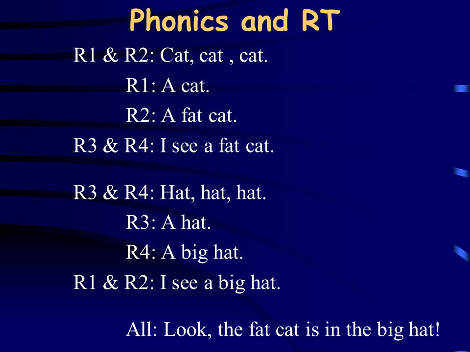 Phonics and RT R1 & R2: Cat, cat , cat. R1: A cat. R2: A fat cat.
