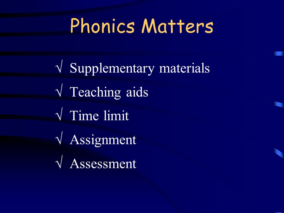 Phonics Matters  Supplementary materials  Teaching aids  Time limit