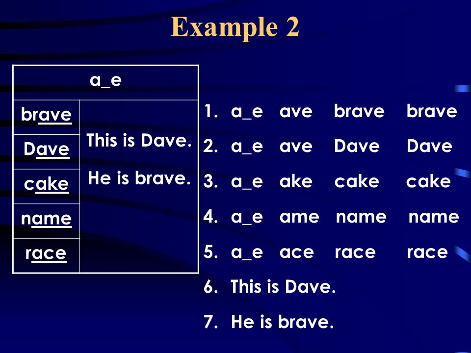 Example 2 a_e brave This is Dave. Dave a_e ave brave brave