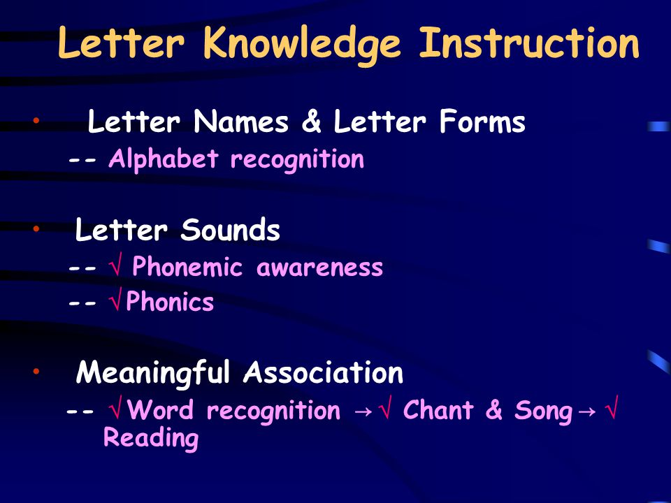 Letter Knowledge Instruction