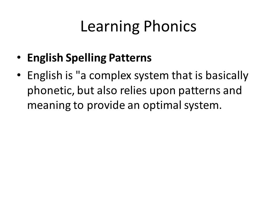 Learning Phonics English Spelling Patterns