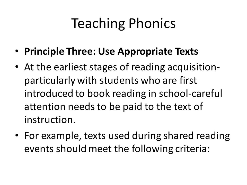 Teaching Phonics Principle Three: Use Appropriate Texts
