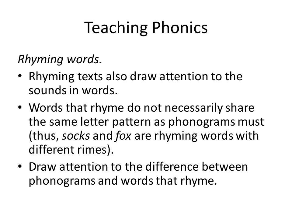 Teaching Phonics Rhyming words.